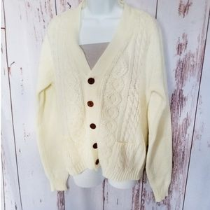 Cream cable knit Irish fisherman grandpa sweater L